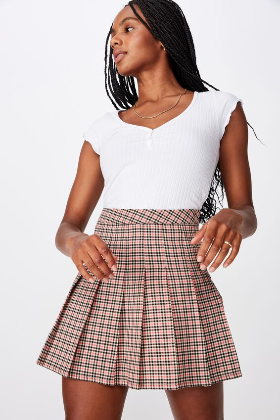 Pleated Skirt, COLLINS NEUTRAL CHECK