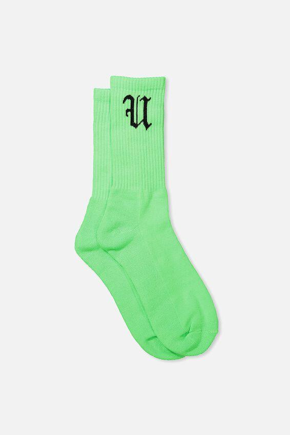 Retro Ribbed Socks, NEON LIME FU