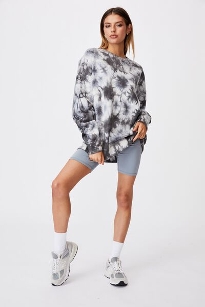 Oversized Crew Neck Sweater, BLACK WHITE TIE DYE