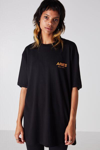 Aries Horoscope T Shirt, BLACK/ORANGE