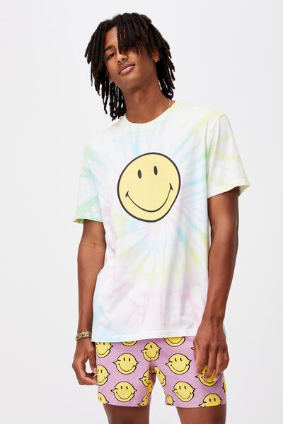 Elevated Regular License T Shirt, LCN SMI TIE DYE/SMILEY