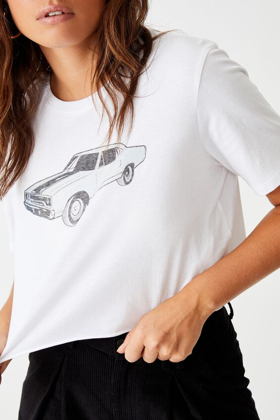 Short Sleeve Raw Edge Crop Graphic T Shirt, WHITE FOOTHILLS MOTOR SHOW