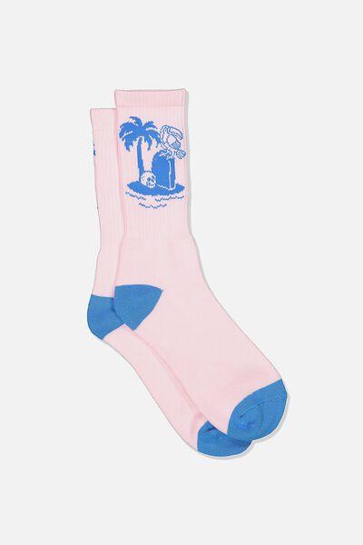 Retro Ribbed Socks, PARADISE PINK/BLUE