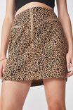 Woven Half Zip Skirt, TAN ANIMAL PRINT