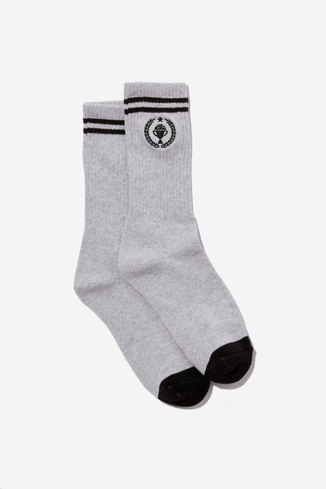 Retro Ribbed Socks, SILVER MARLE/COLLEGE CHAMPS