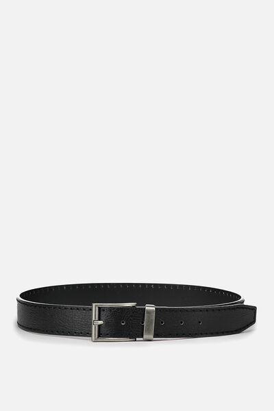 Guys Pu Belt, BLACK/SILVER