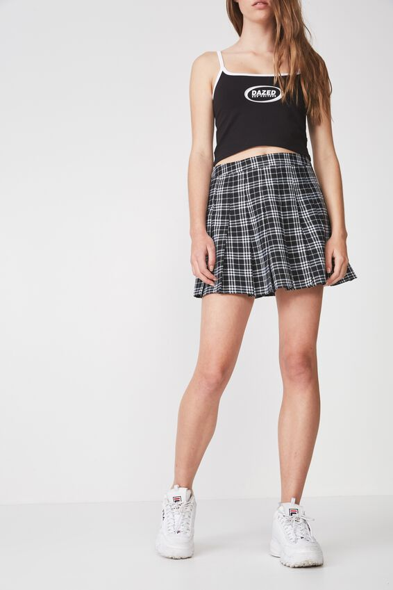 Pleated Skirt 2, BLK/WHITE CHECK