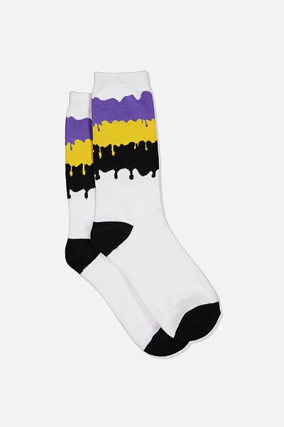 Jersey Sock, TRICOLOUR PAINT DRIPS
