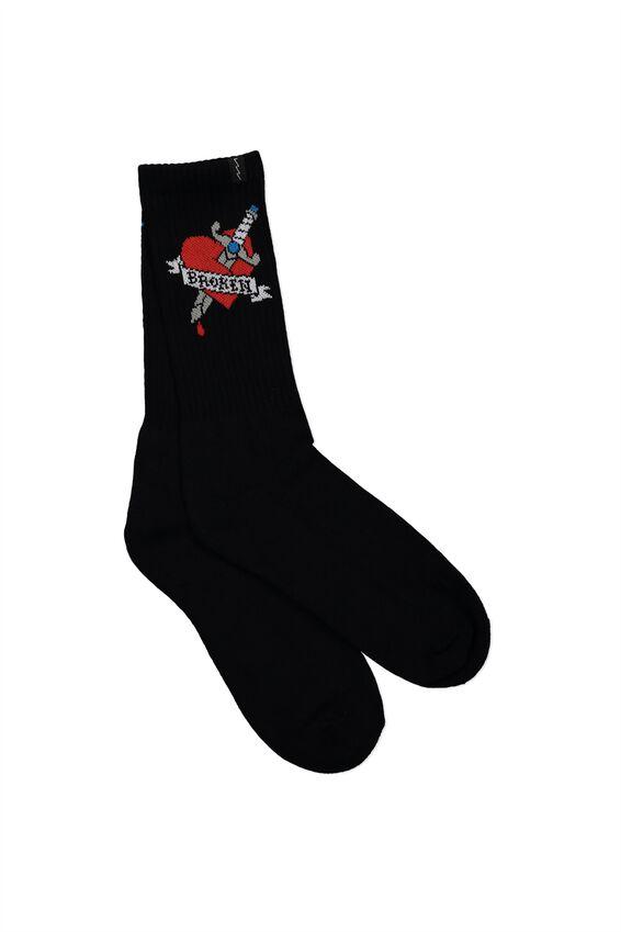 Retro Ribbed Socks, BROKEN HEART