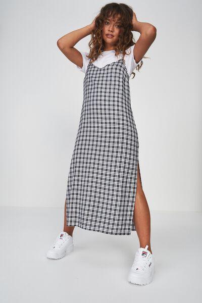 Midi Slip Dress, BLK/WHT CHECK