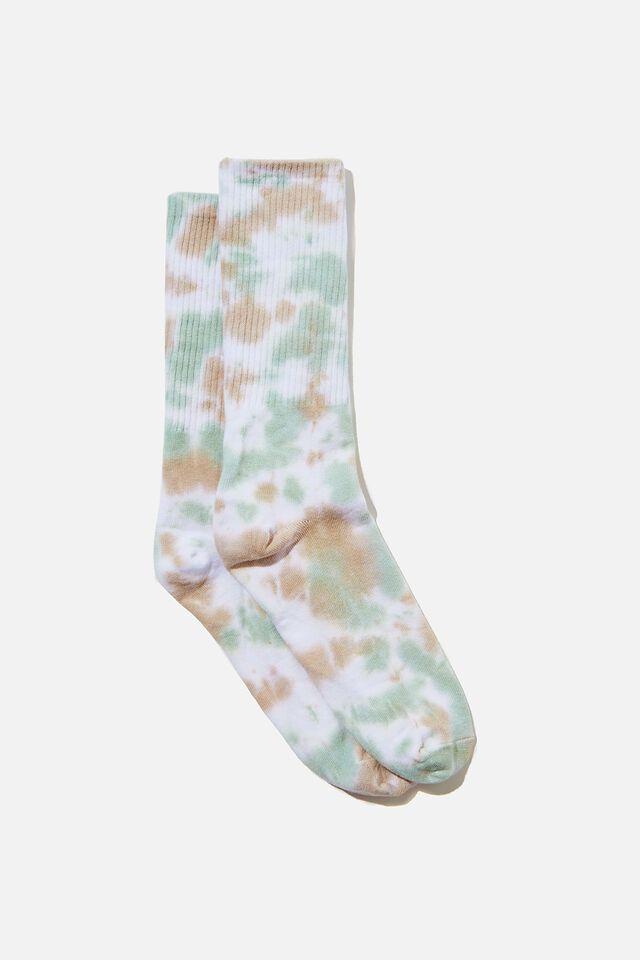 Retro Ribbed Socks, WHITE AQUA TAN TIE DYE