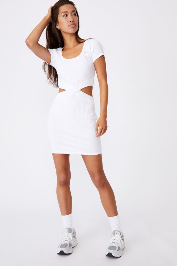 Rib Cut Out Short Sleeve Dress, WHITE