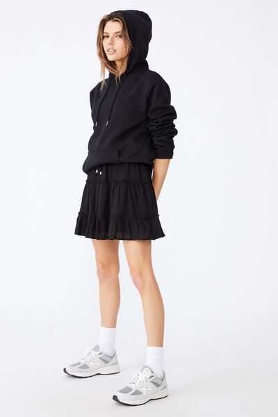 Textured Tiered Skirt, BLACK