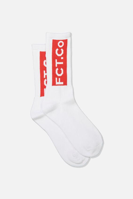 Retro Ribbed Socks, FCT CO_WHT