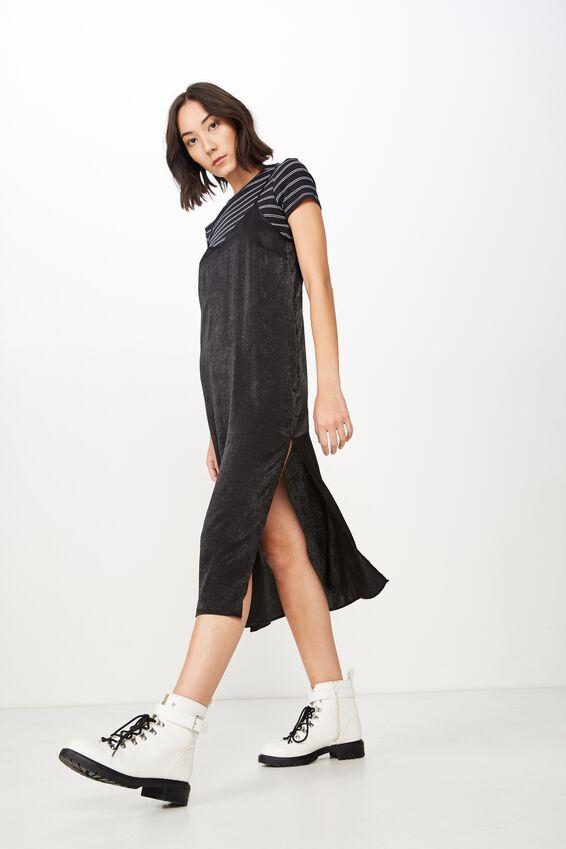 Satin Midi Dress, BLACK