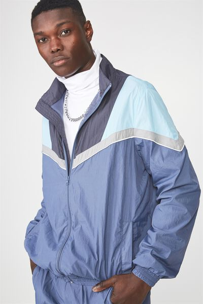 Shell Zip Through Jacket, BLUE SPLICE