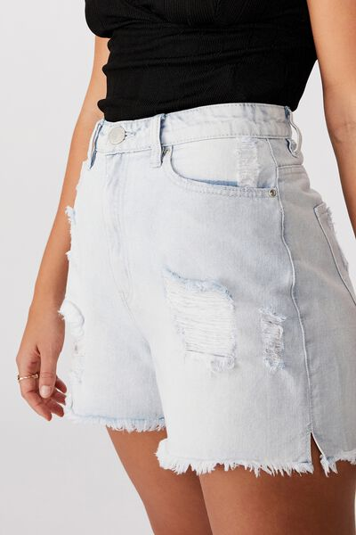 Boyfriend Denim Short, SEA FOAM