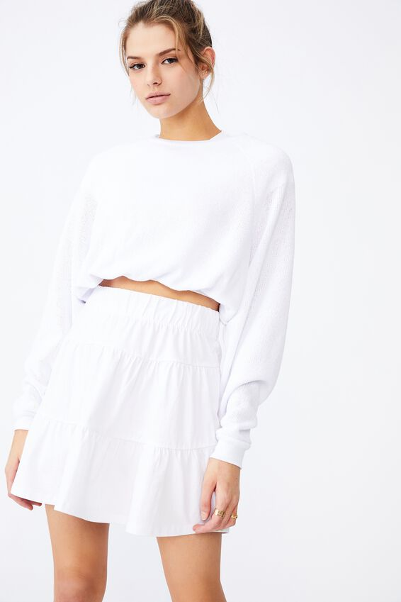 Jersey Tiered Skirt, WHITE