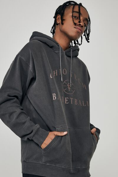 Oversized Graphic Hoodie, WASHED BLACK/OHIO TECH
