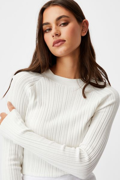 Variegated Rib Knit Long Sleeve Top, WHITE
