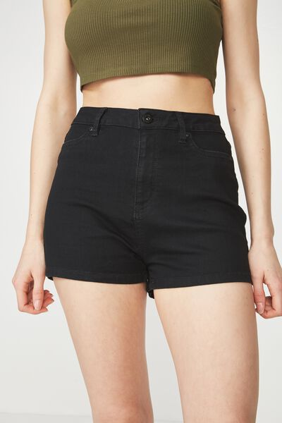 Denim Stretch Short, BLACK
