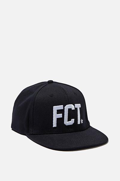 Flat Peak Cap, BLACK/WHITE FCT LOGO