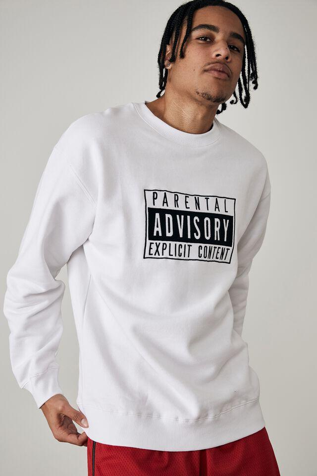 Oversized Pop Culture Crew, LCN PAD WHITE/PARENTAL ADVISORY STACK