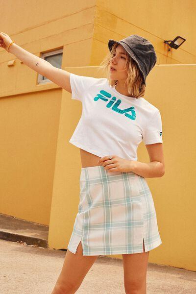 Double Split Mini Skirt, ALINA AQUA CHECK