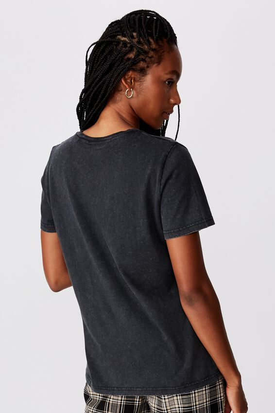 Lcn Relaxed Graphic T Shirt, METALLICACHECK FLAG_WASHED BLACK