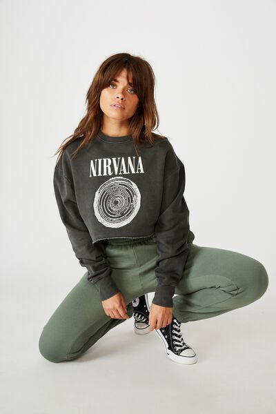 Lcn Cropped Graphic Crew, WASHED BLACK/NIRVANA