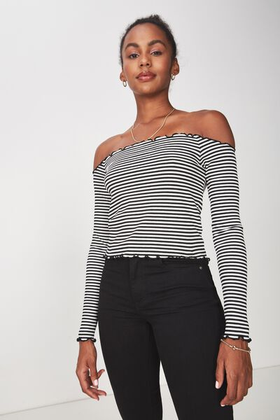 Stripe Rib Off Shoulder Long Sleeve Top, BLACK/WHITE STRIPE