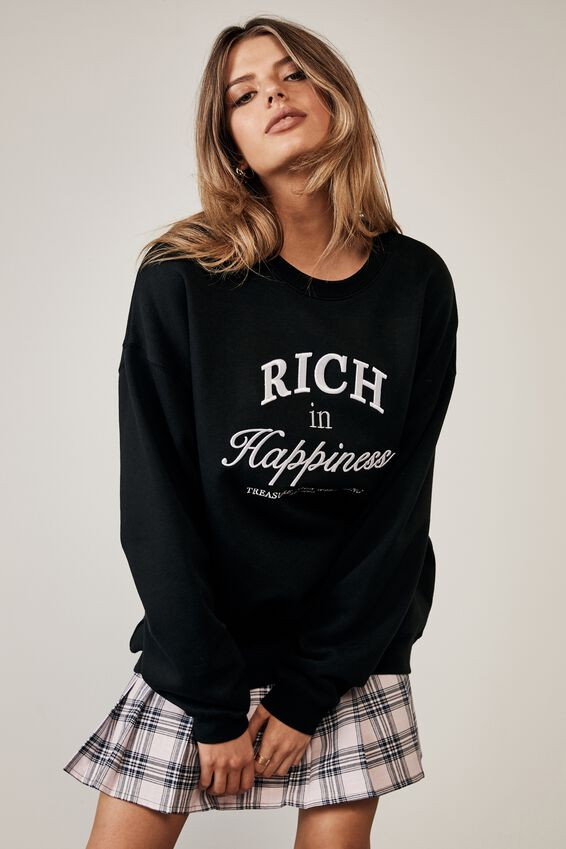 Oversized Graphic Crew, BLACK/RICH IN HAPPINESS