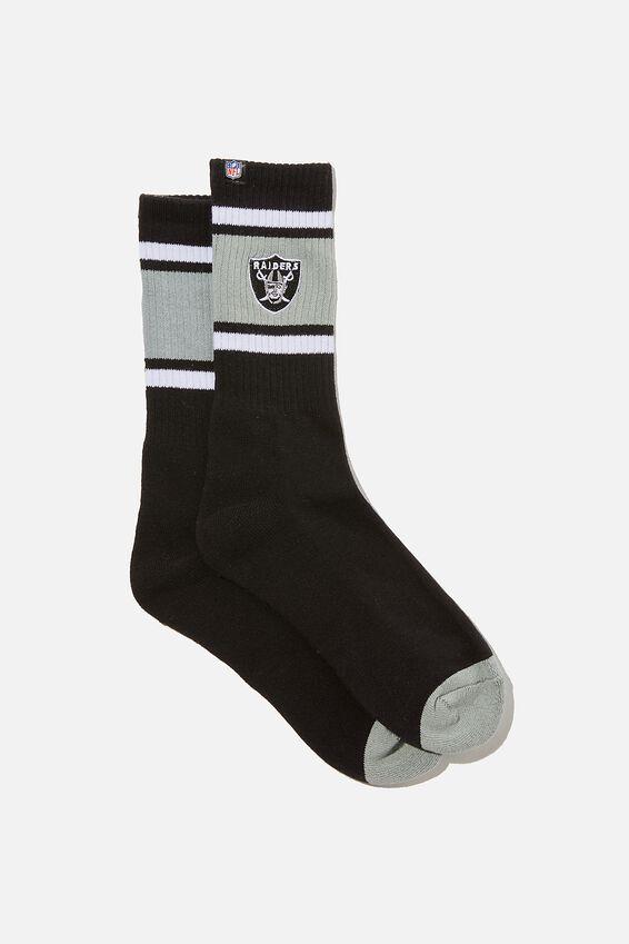 License Retro Rib Socks, LC BLACK NFL RAIDERS