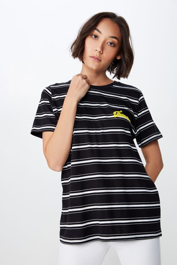 Relaxed Graphic T Shirt, BLK/WTE STRIPE/THANKS