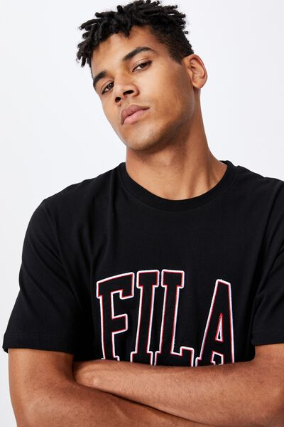Fila Lcn College T Shirt, BLACK/FILA