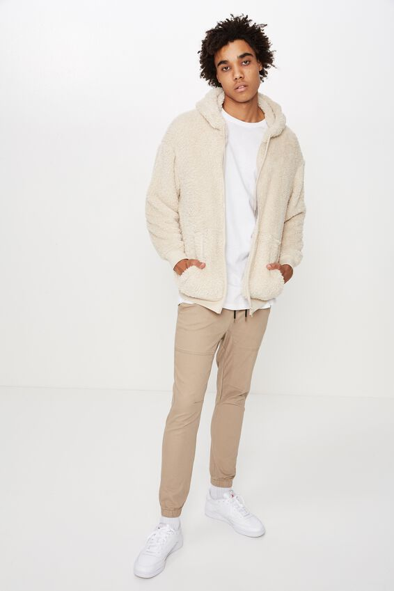 Soft Teddy Zip Through Jacket, OATMEAL