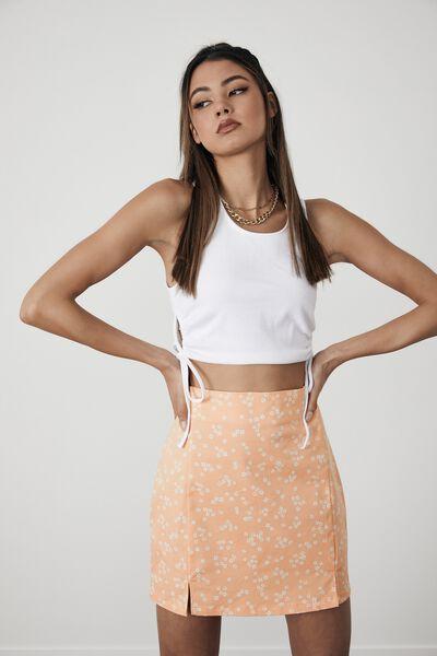 Double Split Mini Skirt, DARBY FLORAL_BEACH SAND