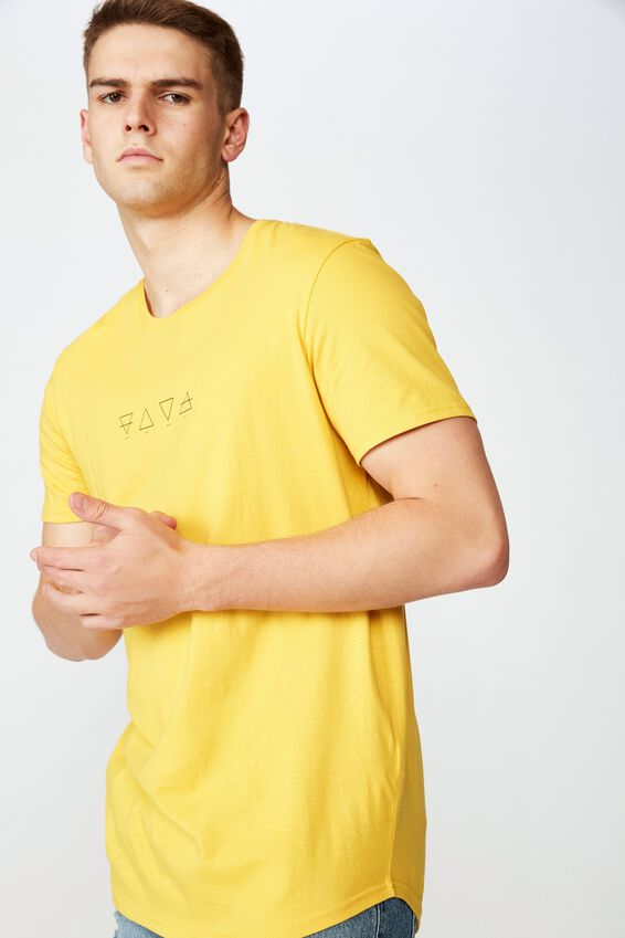 Curved Graphic T Shirt, GOLDEN ROD ELEMENTS