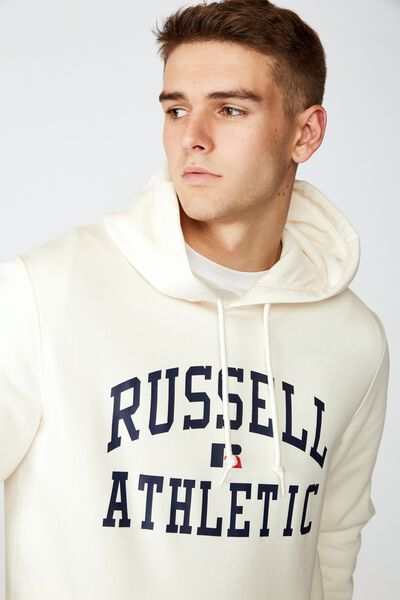Russell Athletic Hoodie, IVORY/ARCH LOGO