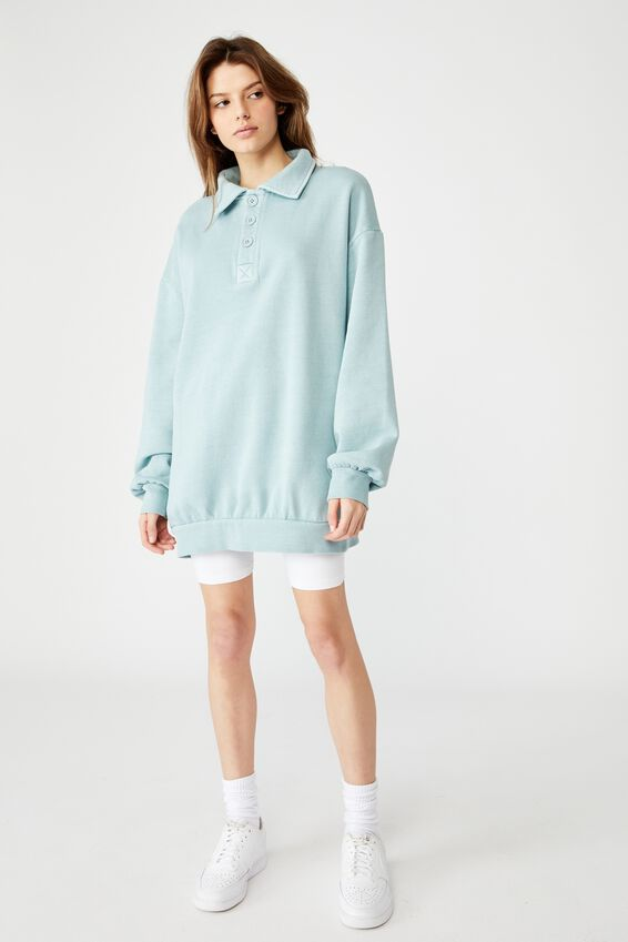 Oversized Collared Crew, WASHED ETHER