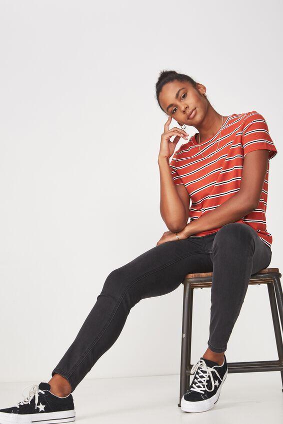 Basic T Shirt Stripe, JIA STRIPE_ROOIBOS TEA