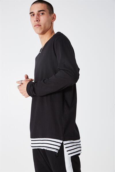 Ls Stripe Mock, BLACK/WHITE