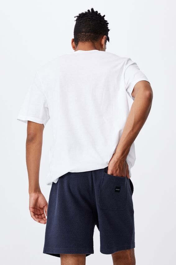 Reverse Fleece Track Short, WASHED INDIGO