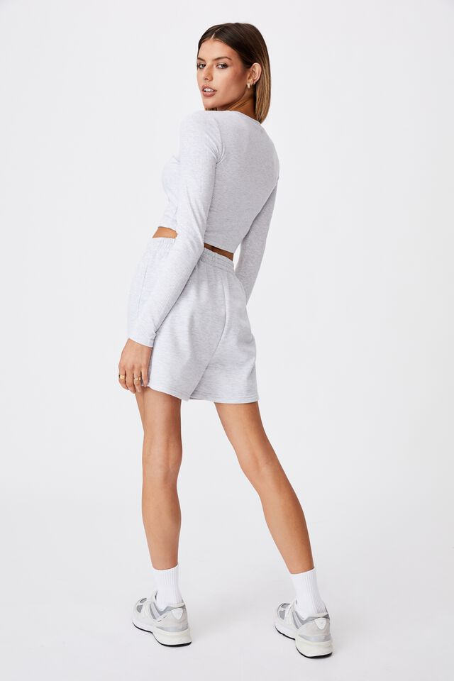 Long Sleeve Cinch Front Top, SILVER MARLE