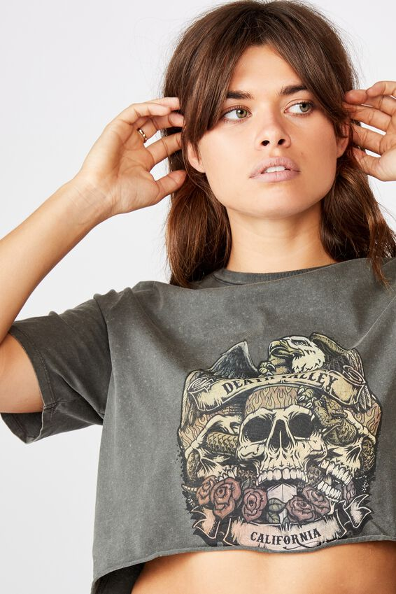 Short Sleeve Raw Edge Crop T Shirt, WASHED ASPHALT/DEATH VALLEY