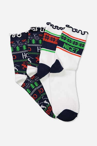 Xmas Gift Pack Socks, NAUGHTY NICE/HO HO HO