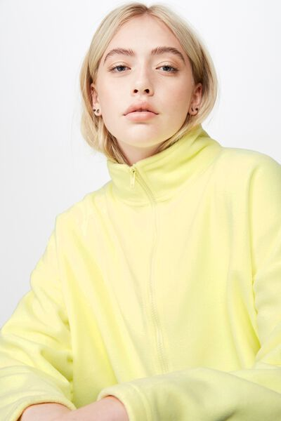 Crop Zip Thru Polar Fleece Jacket, SUNNY LIME
