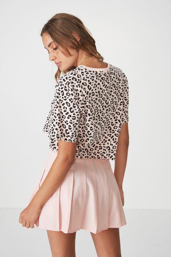Short Sleeve Raw Edge Crop T Shirt, STRAWBERRY CREAM_LUXE