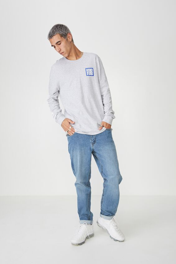 Slim Long Sleeve Graphic T Shirt, LIGHT GREY MARLE/STAGGER