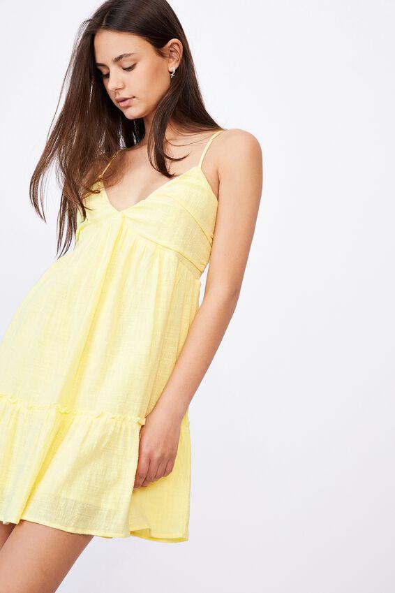 Deep V Textured Tiered Dress, TENDER YELLOW